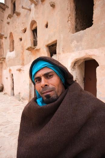 Stock Photo: 1566-565084 Tunisia, Ksour Area, Ksar Ouled Soltane, middle-aged Tunisian man, R, MR-TUN-10-004