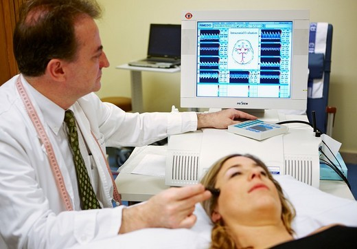 Stock Photo: 1566-565153 Transcranial doppler, Neurological examination. Hospital Policlinica Gipuzkoa, San Sebastian, Donostia, Euskadi, Spain