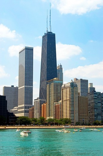 Chicago Hancock Center as viewed from Lake Michigan : Stock Photo