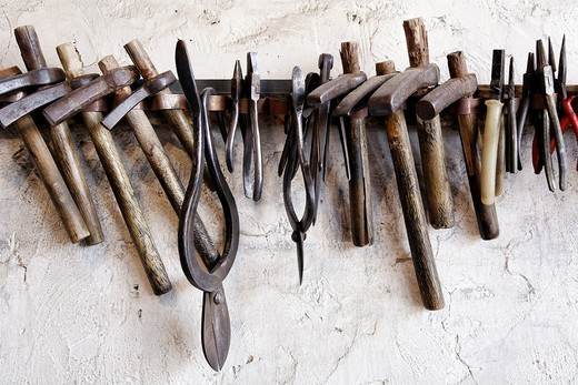 Azerbaijan - Lahic village - rack of hand tools in a workshop : Stock Photo