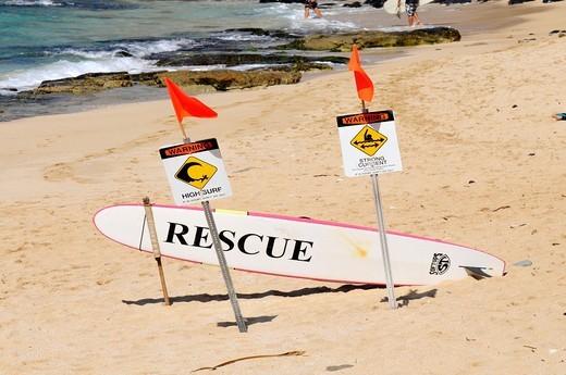 Rescue Boards Kanaha Beach Maui Hawaii Pacific Ocean : Stock Photo