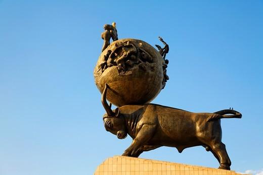 Stock Photo: 1566-566645 Turkmenistan - Ashgabat - the Earthquake memorial statue