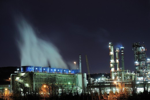 Petronor refinery photographed at night with long exposure time in the town of Muskiz, Basque Country, Spain : Stock Photo