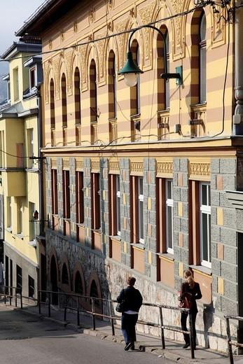 Stock Photo: 1566-567976 Bosnia and Herzegovina, Sarajevo, street scene, historic architecture,