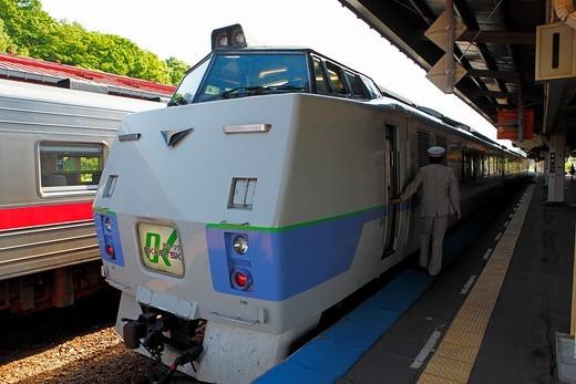 Stock Photo: 1566-568280 Okhotsk Express, Abashiri train station JR, Hokkaido, Japan