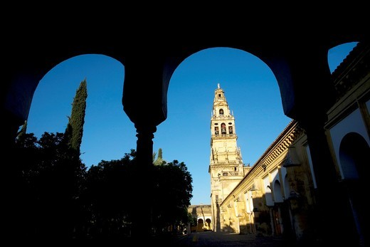 The bell tower of the Mosque and Cathedral of Cordoba is seen between archs in Cordoba, Andalusia, Spain. : Stock Photo