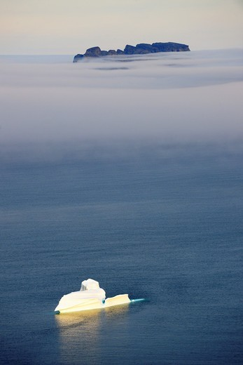 Small iceberg in the fog, Sunshine fjord, Baffin Iceland, Nunavut, Canada : Stock Photo