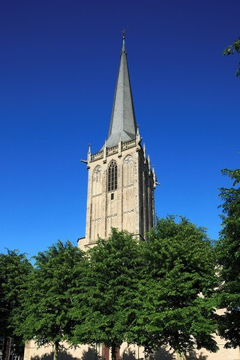 D-Wesel, Rhine, Lower Rhine, North Rhine-Westphalia, NRW, Willibrordi Cathedral, basilica, evangelic church, Late Gothic, church tower : Stock Photo
