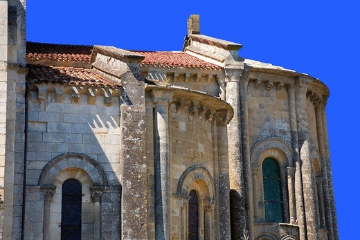 France, 85, Vouvant: Romanesque church : Stock Photo