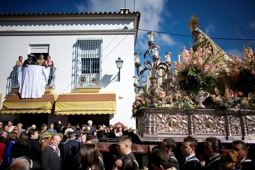 Stock Photo: 1566-572051 A wooden statue of the Virgin Carmen is publicly displayed during a Holy Week procession in the town of Prado del Rey in southern Spain´s Cadiz Sierra region in Andalucia  Easter processions in Andalucia during Holy Week are a public display of Catholic i