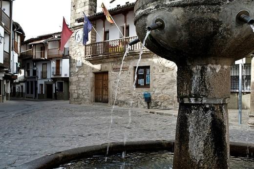 Town Hall Square in the village of La Vera, Spain : Stock Photo