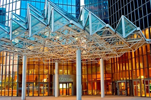 Paris, France, La Défense Business Center, Total Corporate Headquarters at Night : Stock Photo
