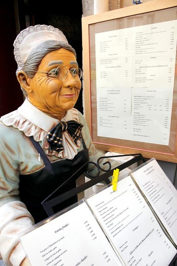 France, Paris, Ile St Louis, restaurant, menu card display, : Stock Photo
