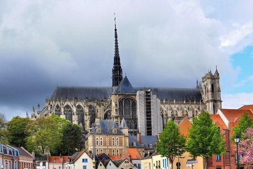 Cathedral of Our Lady of Amiens, UNESCO World Heritage Site, Amiens, Somme department, Picardy, France : Stock Photo