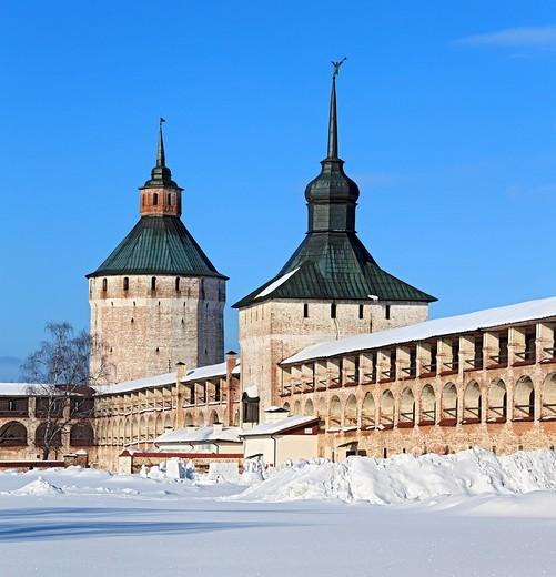 Stock Photo: 1566-574194 Towers of Kirillo-Belozersky Monastery, Kirillov, Vologda region, Russia