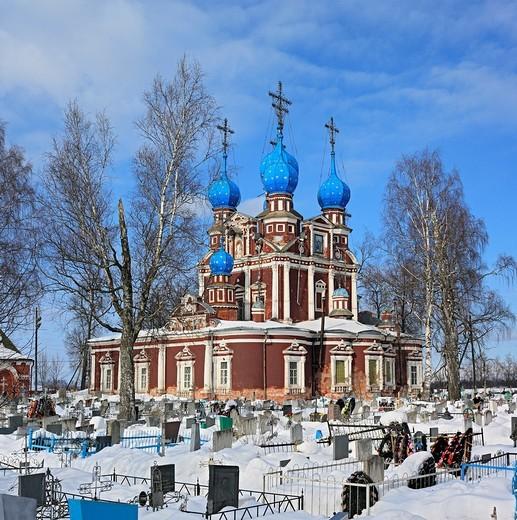 Church of Kazan icon of Our Lady 1694, Ustyuzhna, Vologda region, Russia : Stock Photo