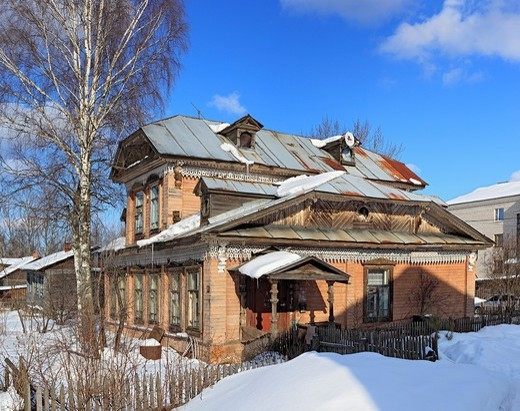 Stock Photo: 1566-574207 Old wooden house, Ustyuzhna, Vologda region, Russia