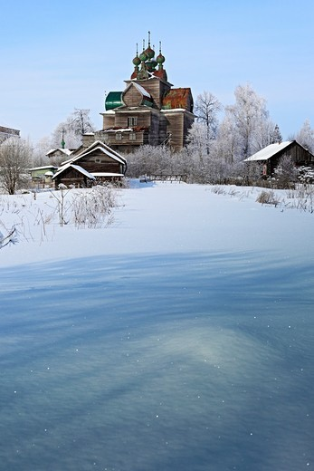 Wooden Dormition church 1694, Nelazskoe, Vologda region, Russia : Stock Photo