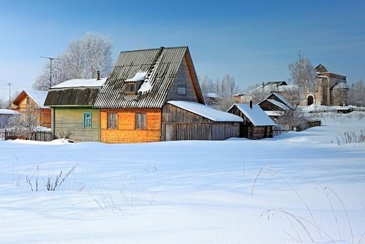 Traditional wooden house, Nelazskoe, Vologda region, Russia : Stock Photo