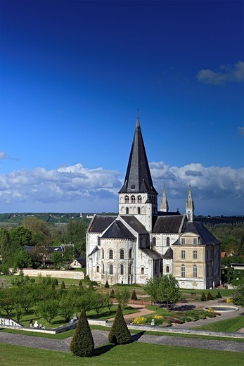 Abbey church of St  Georges, Saint-Martin-de-Boscherville, Seine-Maritime department, Upper Normandy, France : Stock Photo