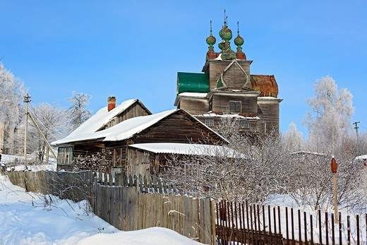 Stock Photo: 1566-574892 Wooden Dormition church 1694, Nelazskoe, Vologda region, Russia