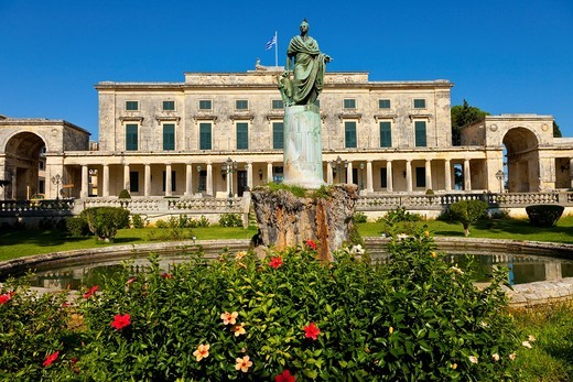 Hadrian sculpture in front of the palace of St. Michael and St. George Town of Corfu, Corfu, Ionian Islands, Greece, Mediterranean Sea : Stock Photo