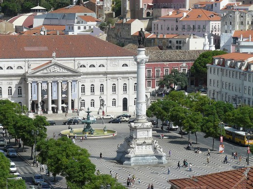 Stock Photo: 1566-575471 View of the Plaza de Don Pedro IV, in the historic city of Lisbon  Lisbon Portugal