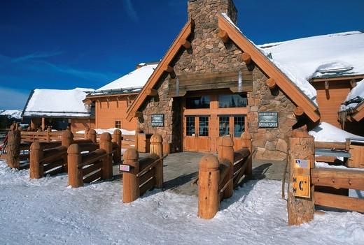 The Lodge at Sunspot ski lodge at Winter Park resort, Colorado, USA : Stock Photo