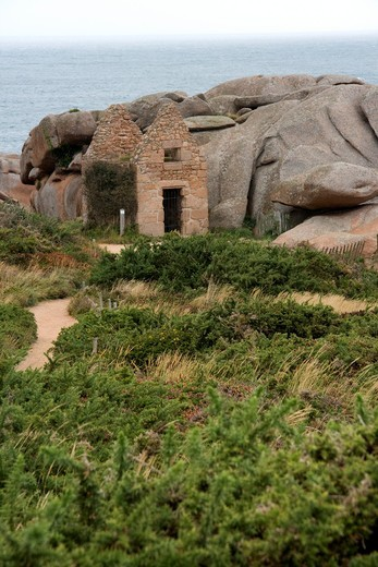 France, Bretagne, Cotes d´Armor, Perros Guirec, Ploumanach, Rose Granite´s coast ´Cote de granit rose´ : Stock Photo