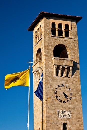 Evangelismou Church of Annunciation, Mandráki Port, Rhodes Town, Rhodes Island, Dodecaneso, Greece, Mediterranean Sea : Stock Photo