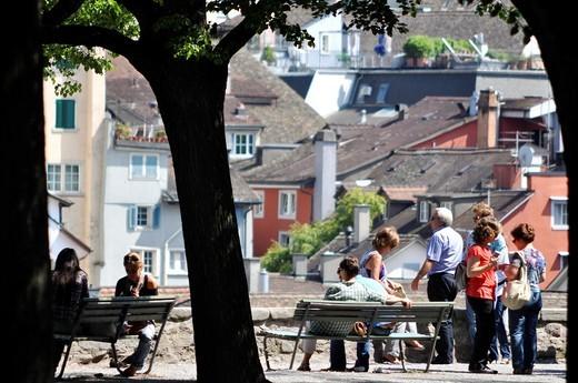 Zurich (Switzerland): people enjoying summer in a park : Stock Photo