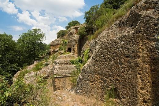 Etruscan Necropolis of Norchia IV-II Sec  a C , Vetralla, Viterbo Province, Latium, Italy, Europe : Stock Photo