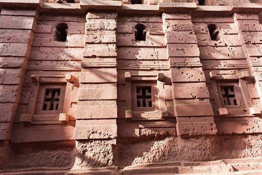 Stock Photo: 1566-577848 The rock-hewn churches of Lalibela in Ethiopia  The church Bet Amanuel, buildt in the ethiopian - axumite style, exterior  The churches of Lalibela have been constructed in the 12th or 13th century  They have been hewn from the solid rock and are consider