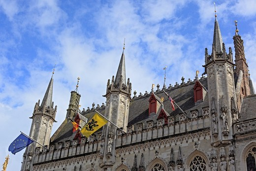 Provinciaal Hof Provincial Goverment Palace, Markt square, Bruges, Belgium : Stock Photo