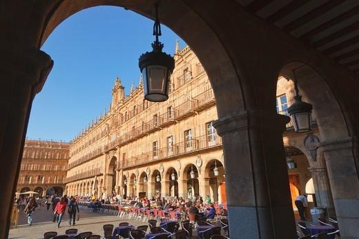 Stock Photo: 1566-578065 Salamanca, Salamanca Province, Spain  The Plaza Mayor  The main square