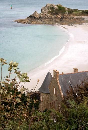 France, Bretagne, Cotes d´Armor, Perros Guirec, main beach : Stock Photo