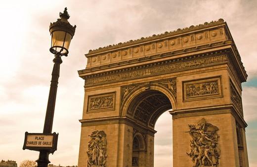 Arc de Triomphe in Plaza Charles de Gaulle, Paris, France : Stock Photo