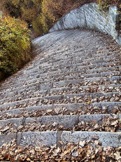-La Escalera de la Muerte- Los 186 Peldaños de la Muerte, Mauthausen (Austria). : Stock Photo