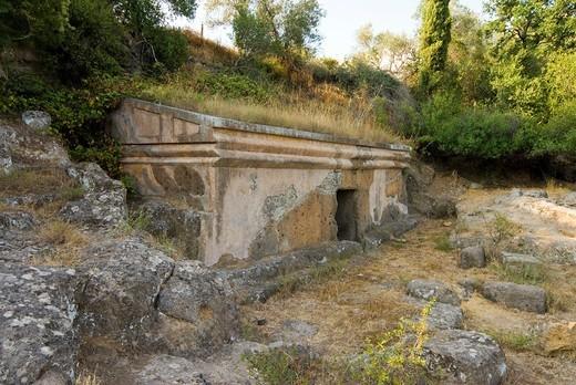 Etruscan Necropolis of the Peschiera, Tuscania, Viterbo Province, Latium, Italy : Stock Photo