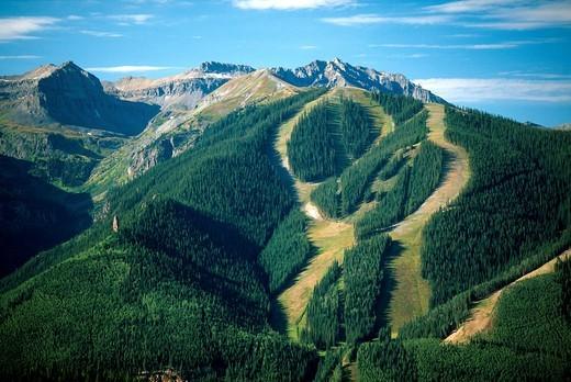 Stock Photo: 1566-579359 Ski trails in August in Telluride, Colorado, USA