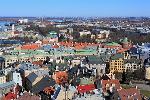 View of city from St  Peter´s Church, Riga, Latvia : Stock Photo