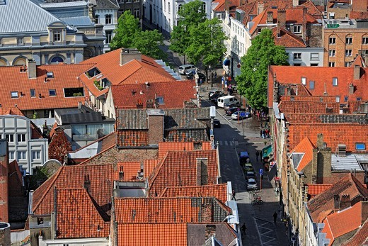 Stock Photo: 1566-579492 View of Bruges from the Belfry, Belgium