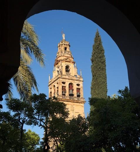 Cordoba, Cordoba Province, Spain  Torre del Alminar of the Great Mosque seen from Plaza de los Naranjos : Stock Photo
