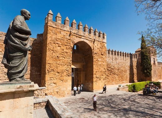 Stock Photo: 1566-579682 Statue of Lucius Annaeus Seneca, or Seneca the Younger, c  4 BC – AD 65 outside city walls and by Puerta de Almodovar  Cordoba, Cordoba Province, Spain