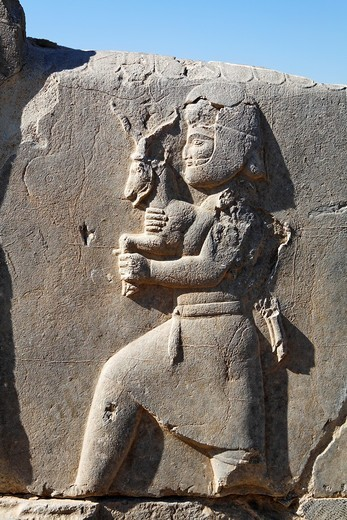 Bas relief of a man bringing gifts to the Persian king, Persepolis, Iran : Stock Photo