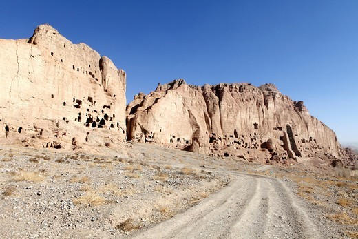 Buddha caves in bamyan, Afghanistan : Stock Photo
