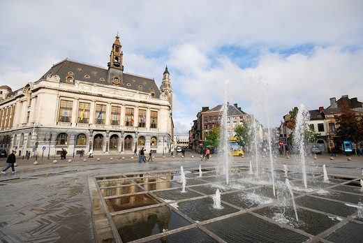 Big square and fountain in Charleroi, Hainaut, region of Valonia, Belgium : Stock Photo