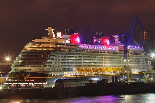 Cruise Ship DISNEY DREAM in Dry Dock at Hamburg Harbour, Germany : Stock Photo