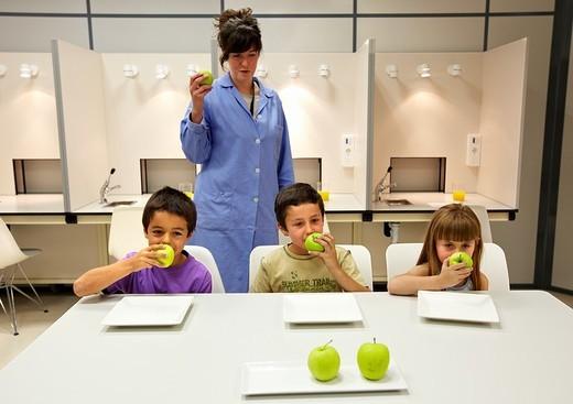 Stock Photo: 1566-581385 Niños realizan cata sensorial de manzana con la ayuda de una especialista en análisis sensorial  Laboratorio sensorial, Cata de alimentos, Azti-Tecnalia, Centro Tecnológico de Investigación Marina y Alimentaria, Derio, Bizkaia, Euskadi, Spain