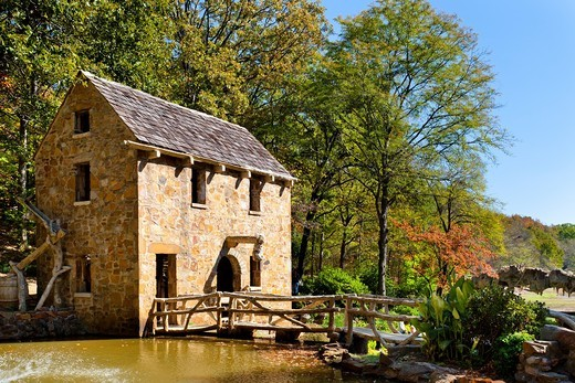 Stock Photo: 1566-581462 A restored grist mill in Old Mill Park in Little Rock, Arkansas, USA